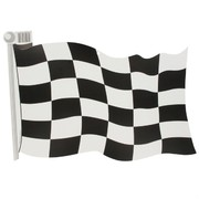 Party Decoration - 18 inch Checkered Flag Cutout Pk1