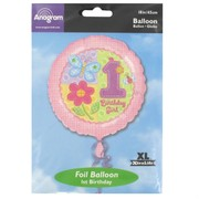 Balloon Foil 18in 1st Birthday Girl Hugs & Stitches Pk1
