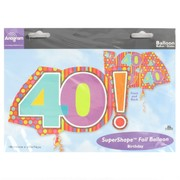 40 Birthday Spots & Stripes Foil Supershape Balloon Pk 1