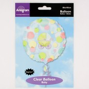 Baby Shower 18in  Magicolour Clear Foil Balloon - Baby Carriage Pk1