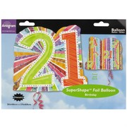 Balloon Foil Supershape Radiant Birthday Prism 21 Pk1