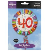 Balloon Foil 18in 40 Radiant Birthday Pk1