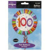 Balloon Foil 18in 100 Radiant Birthday Pk1