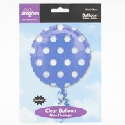 18in Blue Foil Balloon - Clear Polka Dots Pk1
