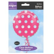 18in Pink Foil Balloon - Clear Polka Dots Pk1