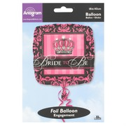 18in (45cm) Crown Bride To Be Square Foil Balloon Pk1