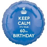 Keep Calm It's Your 60th Birthday Blue Foil Balloon (17in/43cm) Pk 1