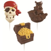 Pirate Chocolate Lollipop Mould - 3 Designs with Recipe Card Pk 1 (3 Cavity Mould Only)