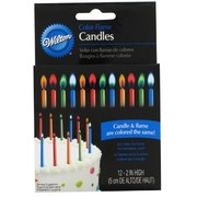 Cake Candles 5cm Colour Flame Pk12
