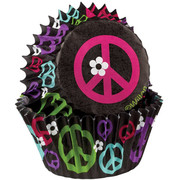 Mini Peace Sign Baking Cups Pk 100