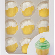 Royal Icing Beer Mug Edible Cake Decorations Pk 12