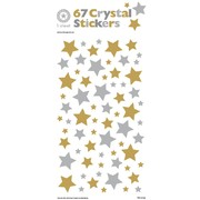 Assorted Crystal Gold & Silver Stars Stickers (67 Stickers)