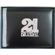 21st Birthday Black Leather Guest Book with Diamantes Pk 1