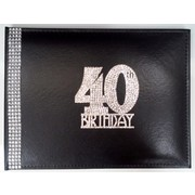 40th Birthday Black Leather Guest Book with Diamantes Pk 1