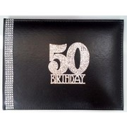50th Birthday Black Leather Guest Book with Diamantes Pk 1