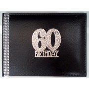60th Birthday Black Leather Guest Book with Diamantes Pk 1