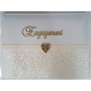 Engagement Cream & White Leather Guest Book Pk 1