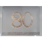 80th Birthday White Leather Guest Book with Diamantes Pk 1