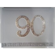 90th Birthday White Leather Guest Book with Diamantes Pk 1
