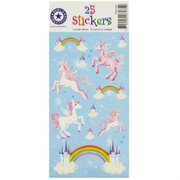 Unicorn Party Stickers - Unicorns, Clouds, Rainbows (1 Sheet of 24 Stickers)