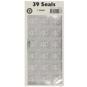 Stickers Two Fold 40th Silver (1 Sheet of 39 Stickers)
