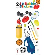 Assorted Bubble Sports Stickers (16 Stickers)