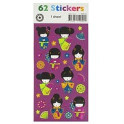 Stickers Geisha (1 Sheet of 62 Stickers)
