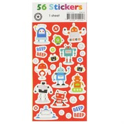 Robot Beep Beep Stickers (1 Sheet of 56 Stickers)