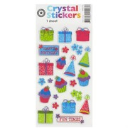 Crystal Stickers - Happy Birthday Icons (1 Sheet of 23 Stickers)