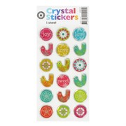 Stickers Crystal Circle Bird (1 Sheet of 18 Stickers)