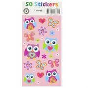 Pretty Owls Stickers (1 Fold) (1 Sheet of 50 Stickers)
