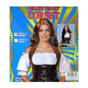 Costume Wench Corset Delux Velvet Brown Pk1