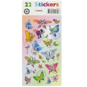 Butterfly Party Stickers - Single Sided (1 Sheet of 22 Stickers)