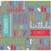 Birthday Text Gift Wrap (700mm x 495mm) Pk 1