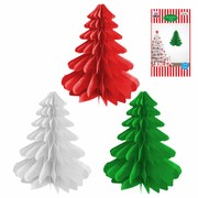 Assorted Hanging Paper Tree Decorations 27cm Pk 3