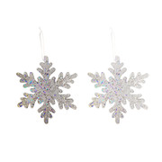 Assorted Glittered Snowflake Decorations 20cm Pk 2