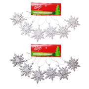 Assorted Glitter Snowflake Decorations 6cm Pk 12