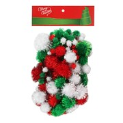 Assorted Christmas Tinsel Pom Poms Pk 100