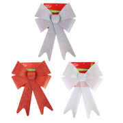 Assorted Traditional Glittered Bows 30cm Pk 3