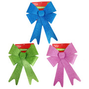 Assorted Modern Glittered Bows 30cm Pk 3