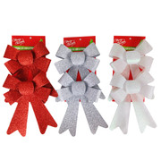 Assorted Glitter Bow Decorations 18cm Pk 6