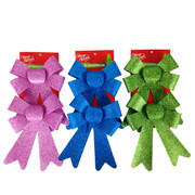 Assorted Glitter Bow Decorations 18cm Pk6