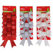 Assorted Glitter Bow Decorations 12cm Pk 9