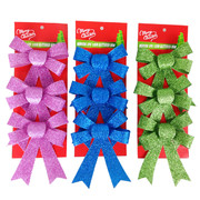 Assorted 12cm Glitter Bow Decorations Pk 9