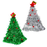 Assorted Christmas Tinsel Tree Hats Pk 2
