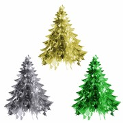 Assorted Foil Tree Hanging Decorations 55cm Pk 3