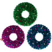Assorted Christmas Wreaths with Baubles 45cm Pk 3
