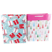Assorted Christmas Gift Bags (Trees/Presents) Medium Pk 2