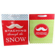 Assorted Christmas Moustache Gift Bags Large Pk 2
