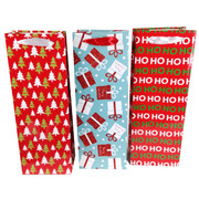 Assorted Christmas Glitter Wine Bags Pk 3